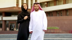 Portrait of a beautiful young couple in the Arab national dress. Stock Footage