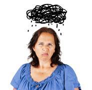 Grumpy woman with dark cloud Stock Illustration