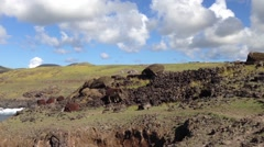 Pan from fallen moai to the sea at the Easter Island, Rapa Nui Stock Footage