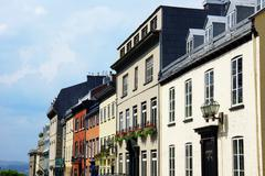 houses in old quebec city - stock photo