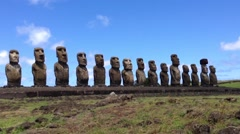 Ahu Tongariki Moai at the Easter Island, Rapa Nui - stock footage