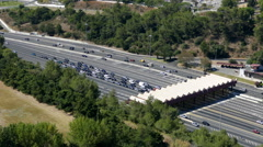 Top View on Collection Point for the Payment Toll road near Lisbon Stock Footage