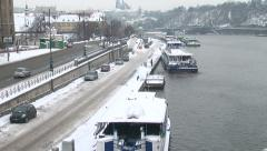 977. Prague. Snowy landscape of the river and the city Stock Footage