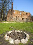 Camp fire place in front of post cistercian ruins in bierzwnik village (part  Stock Photos