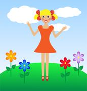 merry  girl in summer on lawn - stock illustration