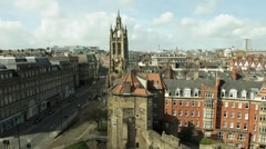 Time lapse of clock tower in an empty city Stock Footage
