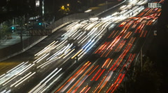 San Diego Freeway Night Tele Time Lapse Zoom Stock Footage