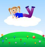 merry girl lie on cloud - stock illustration
