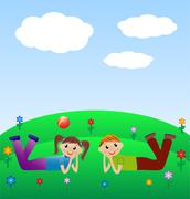 merry child lie on lawn - stock illustration