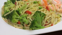 Linguini Shrimp & Broccoli II HD Stock Footage