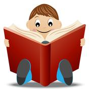 Little boy read book Stock Illustration