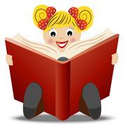 little girl read book - stock illustration