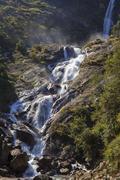 Waterfall in annapurna region, nepal. Stock Photos