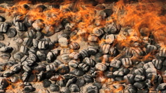 Fire BBQ Coal Flames HD Stock Footage