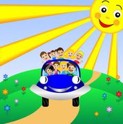 family go by rest in blue car - stock illustration