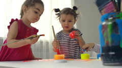 Toddlers Drawing Together Stock Footage