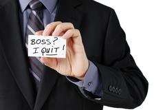 man holding i quit card - stock photo
