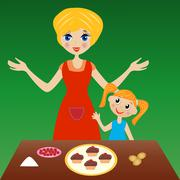 mother with little daughter prepare delicious cake - stock illustration