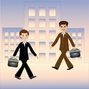 Two business men hurry on work Stock Illustration