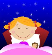little girl sleep under blanket with doll - stock illustration