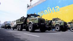 Military parade, Independence Day of Ukraine 2014, Kiev, Ukraine. Stock Footage