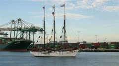 4K Tall Ship Crossing Port of Los Angeles Stock Footage