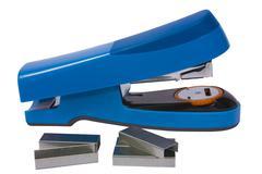 blue stapler and staples - stock photo