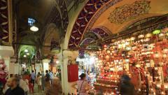 People visit the Grand bazaar  in Istanbul, Turkey. Stock Footage