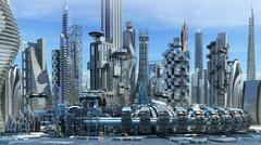 Science fiction skyline architecture Stock Illustration