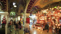 People visit the Grand bazaar on Aug 15, 2014 in Istanbul, Turkey Stock Footage