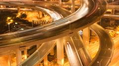 China Shanghai Nanpu Bridge traffic at night time lapse Stock Footage