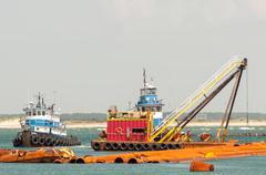 Stock Photo of construction ships in oregon inlet outer banks