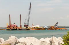 Construction ships in oregon inlet outer banks Stock Photos
