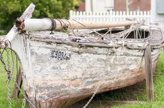 Old boat on abandoned junk yard Stock Photos