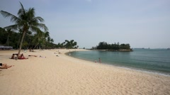 Sentosa beach view. Stock Footage