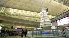 Swarovski christmas tree at Hong Kong International Airport Stock Footage
