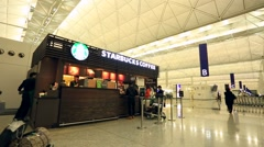 Starbucks coffee at Hong Kong International Airport Stock Footage