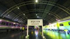 Trains at Hua Lamphong Railway Station (Bangkok Railway Station). Stock Footage