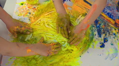 Kids Smudging Paint Stock Footage