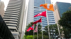 Flags at the entrance of Fullerton Bay Hotel. Stock Footage