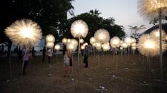 Light Art Festival at Marina Bay - stock footage