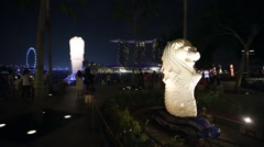 Small Merlion at night. Stock Footage