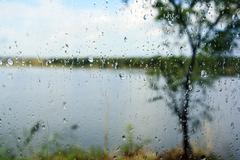 glass raindrops - stock photo
