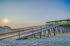 Abandoned north carolina fishing pier outerbanks obx cape hatteras national s Stock Photos