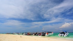 Speedboats on a beach Stock Footage