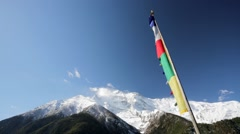 Prayer flags in mountains Stock Footage