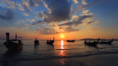 Sunset over Ao Nang Beach, Krabi, Thailand. Stock Footage