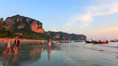 People at Ao Nang beach Stock Footage