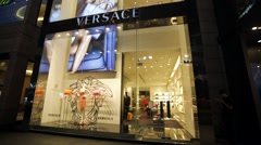 Stock Video Footage of Versace luxury fashion boutique