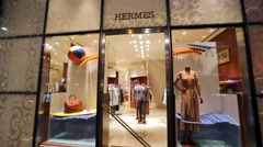 Hermes fashion store Stock Footage